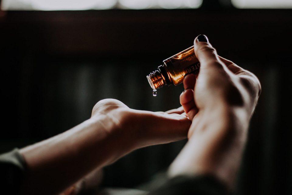Massage oil on hand
